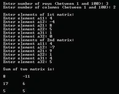 使用多維數組實現兩個矩陣的相加